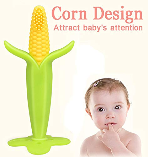 Euone  Baby Teether, Food Grade BPA Free Simulation Corn Training Infant Baby Teether & Toothbrush (Cane Candy Bears)