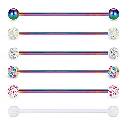 vcmart Industrial Barbell 14G 6PCS 38mm Stainless Steel Ear Cartilage Helix-Conch Piercing Rainbow Bar 1 1/2 Inch by vcmart