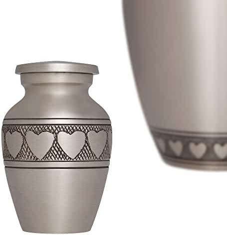 Keepsake Funeral Urn by Liliane - Miniature Cremation Urn for Human Ashes - Hand Made - Fits a Small Amount of Cremated Remains - Small Burial Urn - Corazones Model