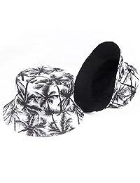 ZSAIMD Unisex de Moda de Verano Reversible Negro Blanco árbol de Coco Impreso Pescador Caps Sombreros del Cubo Hombres Mujeres