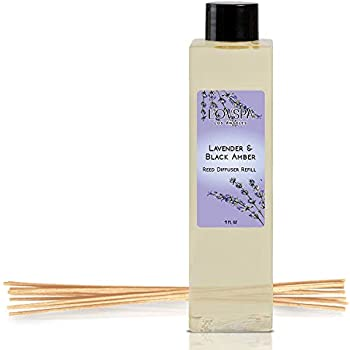 LOVSPA Lavender & Black Amber Reed Diffuser Oil Refill with Replacement Reed Sticks | Relaxing Blend of Parisian Lavender, Rustic Amber & Vanilla Tonka Bean Essential Oils | 4 oz| Made in The USA