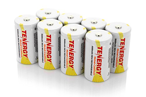 - Combo: 8pcs Tenergy D Size 5000mAh NiCd Button Top Rechargeable Batteries