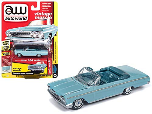 Auto World 1962 Chevrolet Impala Open Convertible Twilight Turquoise Light Teal Interior Vintage Muscle Limited Edition to 4,128 Pieces Worldwide 1/64 Diecast Model Car 64192/AWSP014B