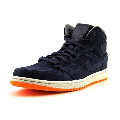 NIKE Jordan Mens Air Jordan 1 Mid Nouveau Obsdn/Obsdn/Atmc Orng/CL Gry Basketball Shoe Obsdn/Obsdn/Atmc Orng/Cl Gry