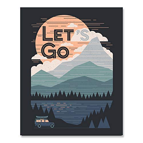 Mountain Art Print - Outdoor Nature Inspiration Wilderness Forest Landscape With Sunset Reflecting Lake Wall Art Road Trip Motivational Camping Wall Hanging 8 x 10 Inch Art Print ()