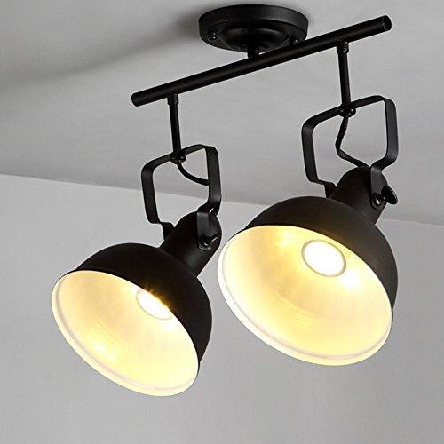Retro Flush Two Light (KunMai Industrial Loft Retro Adjustable Light Head Spotlight Metal Dome Shade LED Semi Flush Mount Ceiling Light in Solid Black (2-Light))