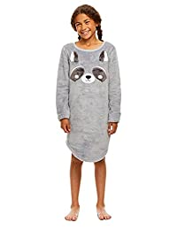 Girls Plush Fleece Nightgown - Long Sleeve Sleep Shirt with 3D Ears
