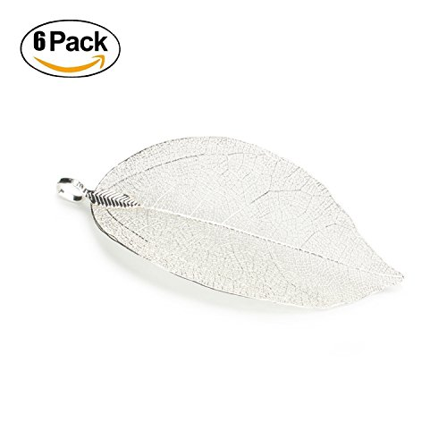 6PCS Silver Plated Large Natural Real Filigree Leaf Pendants Charms Bulk for Jewelry Making (Large)