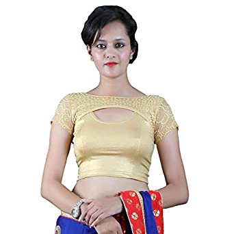 4aba99b2d61 Gebisha Fashion Designer Women s Plain Lycra And Net Design Half Sleeve  Boat Neck Streatchable Golden Blouse With Pearl Work  Amazon.in  Clothing    ...