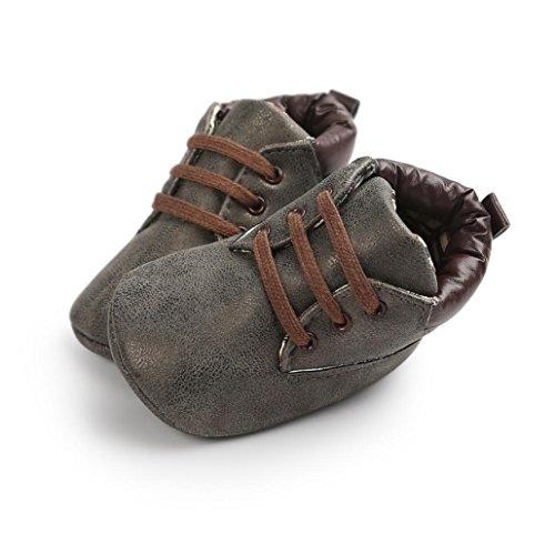 Baby Schuhe Clode® Baby weiche Sohle Leder Schuhe Säuglingsjunge Mädchen Kleinkind Schuhe Dark Gray