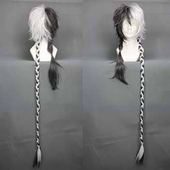 "44"" Dark Gray & White Cosplay Wig with Braids -- YUEZHENG LONGYA VOCALOID CHINA"
