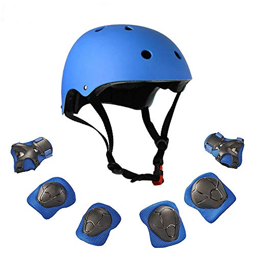 Warm House Kids Toddler Protective Gear and Helmet Sets,3 to 8 Years Old Kids Helmet and Pads Set[Knee Pads,Wrist Pads and Elbow Pads] for Skateboarding, Skating, Scooter, Cycling (Blue)