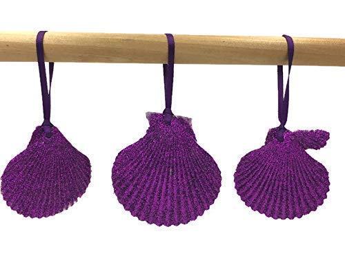 Purple Glitter Seashell Beach Christmas Ornaments, Set of 3 ()