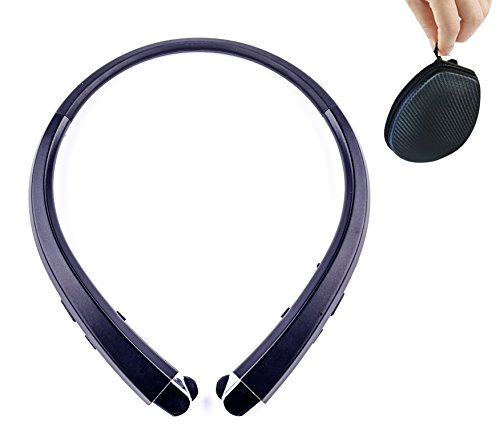 Bluetooth Headphones Retractable Earbuds Neckband Wireless Headset Sport Sweatproof Earphones with Mic for iPhone Android Cellphone, Noise Cancelling (Black)