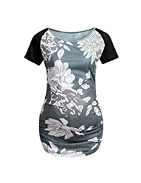 Jarsh Women's Maternity Clothes Side Ruching Floral Tops Short Sleeve Blouse