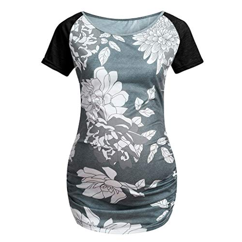(Sherostore ♡ Maternity Bodycon Dress Short Sleeve Ruched Sides Knee Length Shirred Dress Daily Wearing Or Baby Shower)
