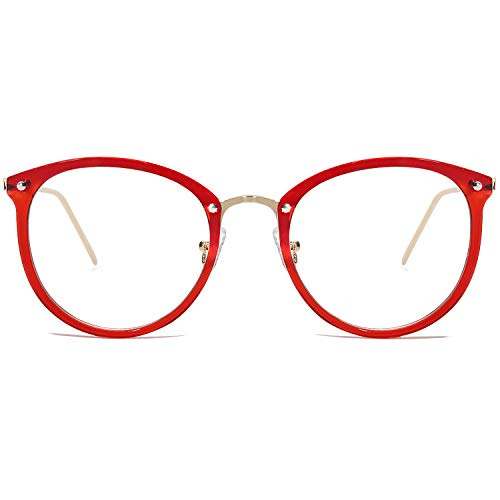 Amomoma Round Non-Prescription Eyeglasses Clear Lens Glasses Eyewear Frame A5001 with Red Frame/Clear ()