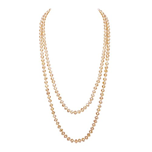 Rosemarie Collections Women's Faceted Glass Crystal Beaded Long Strand Necklace and Stretch Bracelet Set (Light Topaz Necklace Only)