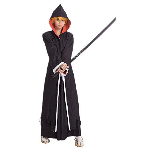 Bleach Kurosaki Cosplay Costume - Mister Bear Bleach Kurosaki Ichigo Black Robe Hooded Cape Cosplay Costume