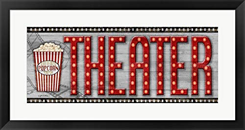 Movie Marquee Panel II (Theater) by Jen Killeen Framed Art Print Wall Picture, Black Frame, 32 x 17 ()