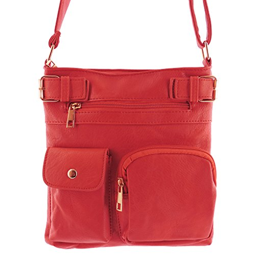 Crossbody Indie Tote 3 Handbag Fever Hipster Style Fashion Pck Purse Red Small Silver Designed q1E8wTF1x