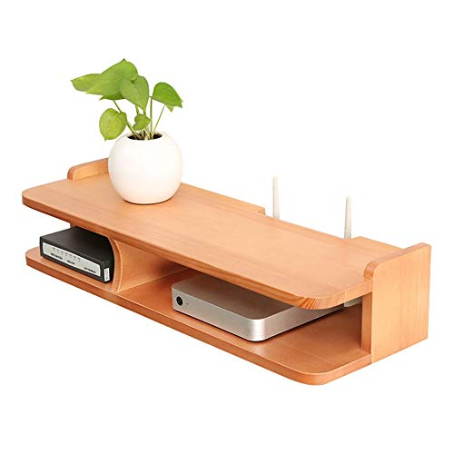 MARUIMR Solid Wood Router Storage Box Wall-Mounted Bedroom Living Room Decorative Ledge TV Set-top Box Shelf Projector (Color : Wood Color)