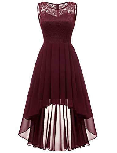 - Dressystar 0038 Sleeveless Hi-Lo Lace Bridesmaid Dress Formal Prom Dress S Burgundy