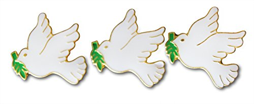 3-Piece White Dove With Olive Branch Lapel or Hat Pin and Tie Tack Set with Clutch Back by Novel Merk