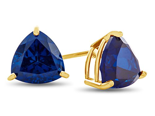 Finejewelers 7x7mm Trillion Created Blue Sapphire Post-With-Friction-Back Stud Earrings 14 kt Yellow Gold