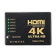 SODIAL(R) 3D 1080p 5 Port 4K HDMI Switch Switcher Selector Splitter Hub iR Remote For HDTV