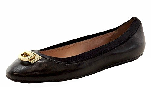 DKNY Donna Karan Ballet Flats Bella Logo D-Lock Ladies Round Toe Genuine Leather Ballerina Shoes Black