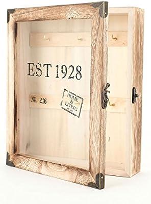Llave Buzón keybox 24 x 21 cm – para Guardar Llaves de Madera marrón Natural Llave Caja con 6 Ganchos y Puerta de Cristal – Texto Home & Living: Amazon.es: Hogar