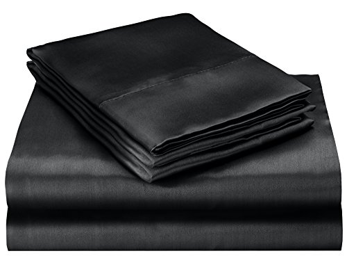 Elaine Karen Soft Silky Satin Queen Bed Sheet Set, Black