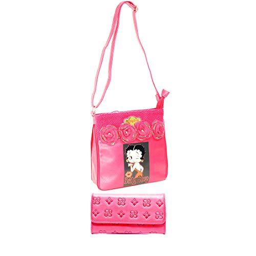 - Betty Boop crochet glitter Cross-Body Messenger wallet Bag set pink knitted rose