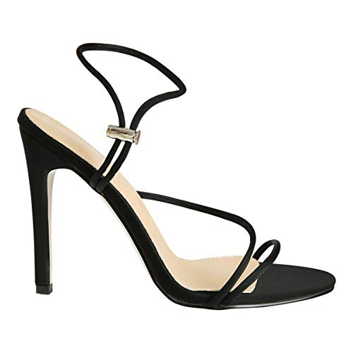 OLCHEE Women's Fashion Strappy High Heel Sandals - Pointy Open Toe Ankle Strap Stilettos - Black Fluorescent Lycra Size 9