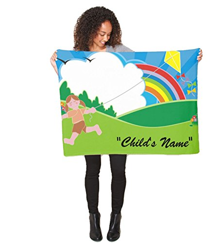 Blue Skies Plus Flying a Kite with Rainbow Fleece Baby Crib or Stroller Blanket Custom Personalized 40x30 Inches