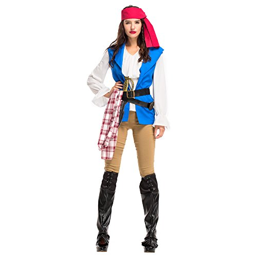 fanituhan 할로윈 코스프레 해적 파이럿 코스튬 오브 캐리비안 남녀용 어른용 원피스 남녀 해적 코스프레 가장 레이디스