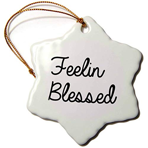 3dRose Tory Anne Collections Quotes - Feeling Blessed - 3 inch Snowflake Porcelain Ornament (orn_288759_1)