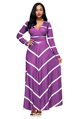 Pink And Purple Striped Dress - 7