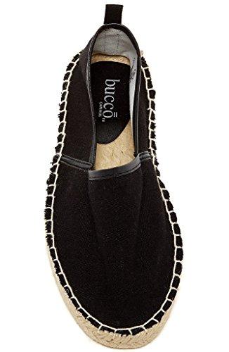 Bucco Jones Mode Féminine Végétalienne Espadrille Slip-on Noir