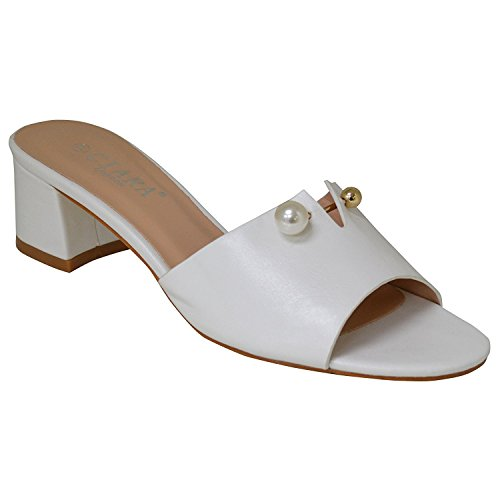 Slip Low Ciara On Block Women's Sandals Mule Heel Megan Buckle Pin White Tgxqw0WZIq