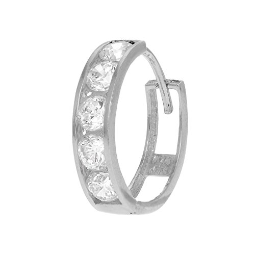 JewelStop 14k White Gold Single CZ Huggie Hoop Men's Hinged Earring - (14k Gold Hinged Hoop Earrings)