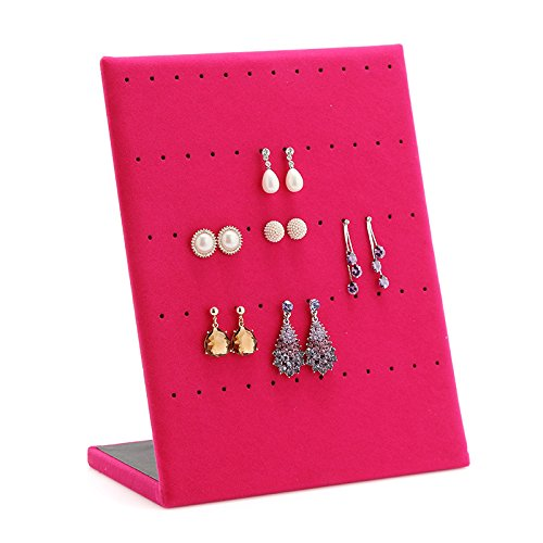 VNFEI 1 piece Jewelry Frame Velvet Earrings Holder Earring Display Stand Jewelry Display shelf Show Case Organizer Tray,9.8x7.9 inches(Rose Red)