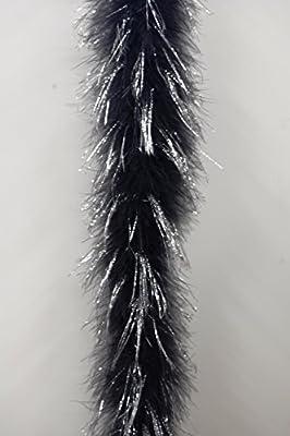 "Marabou Feather Boa (72"") 22 Grams - BLACK w/ SILVER LUREX"