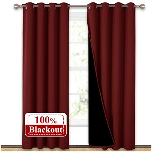 NICETOWN 100% Blackout Curtains with Black Liner Backing, Thermal Insulated Curtains for Living Room, Noise Reducing Drapes for Christmas, Burgundy Red, 52