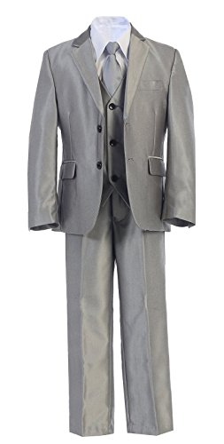 Gorgeous 5-Piece Formal Dress Suit w/Vest Size 2-20 - Multi Colors (14, Silver) by Whispers