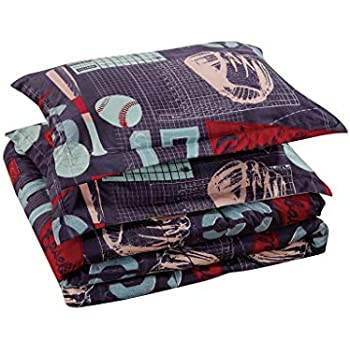 Chezmoi Collection 4-Piece Kids/Teens Sports Comforter Set - Soft Microfiber Gray Blue Red Teal Baseball, Twin Size