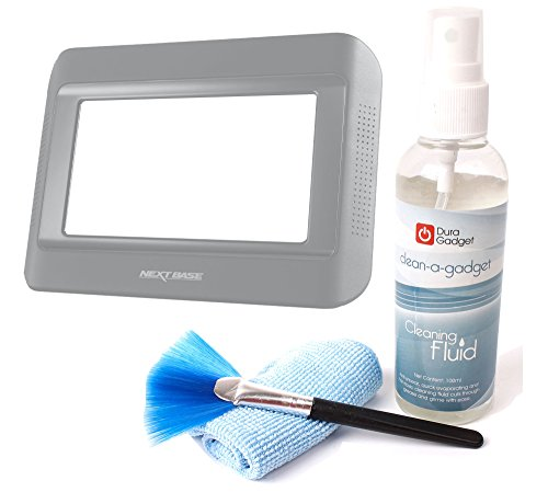 DURAGADGET High-Tech Gadget Cleaning Kit with Cleaning Fluid, Brush + Microfibre Cloth For Nextbase Click & Go Click 7 Lite Duo Twin Screen Portable DVD Player by DURAGADGET
