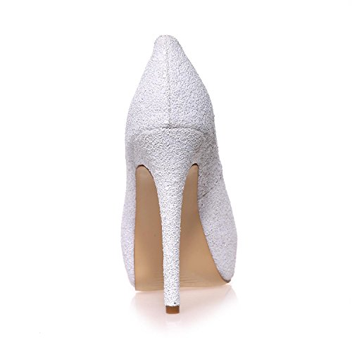 L@YC Women Wedding Shoes Fish Tail Toe Fine With Satin Pumps More available Colors / Large Size Custom White EgsEi5T5
