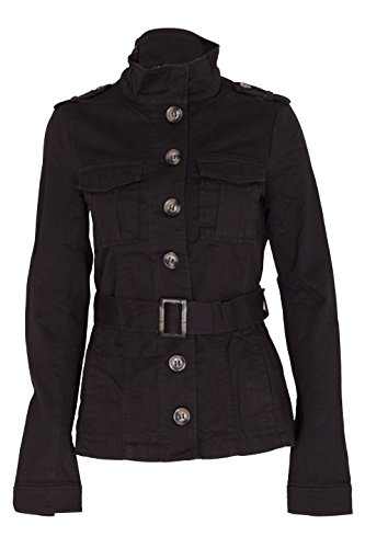 Ladies Military Style Summer Jacket (10(UK 14), Belt Black) ()